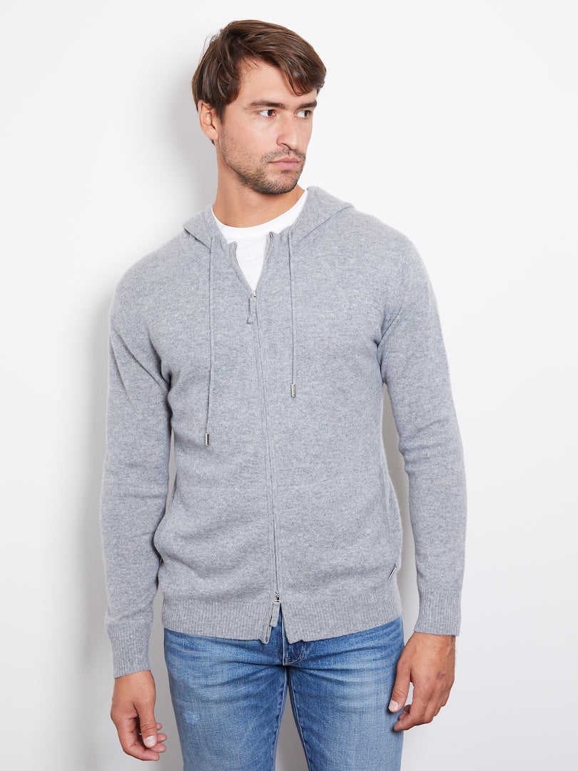 Hank Perfect Cashmere Latham Zip Hoodie, Heather Gray