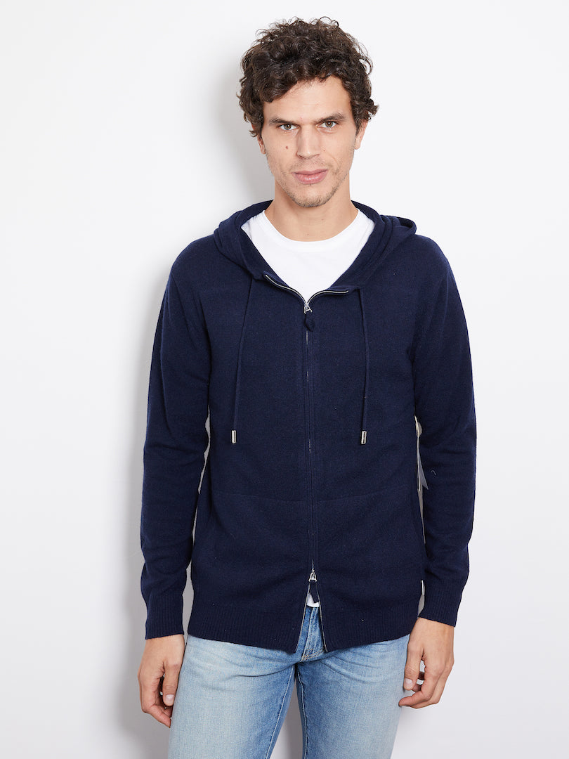 Hank Perfect Cashmere Latham Zip Hoodie, Midnight Navy