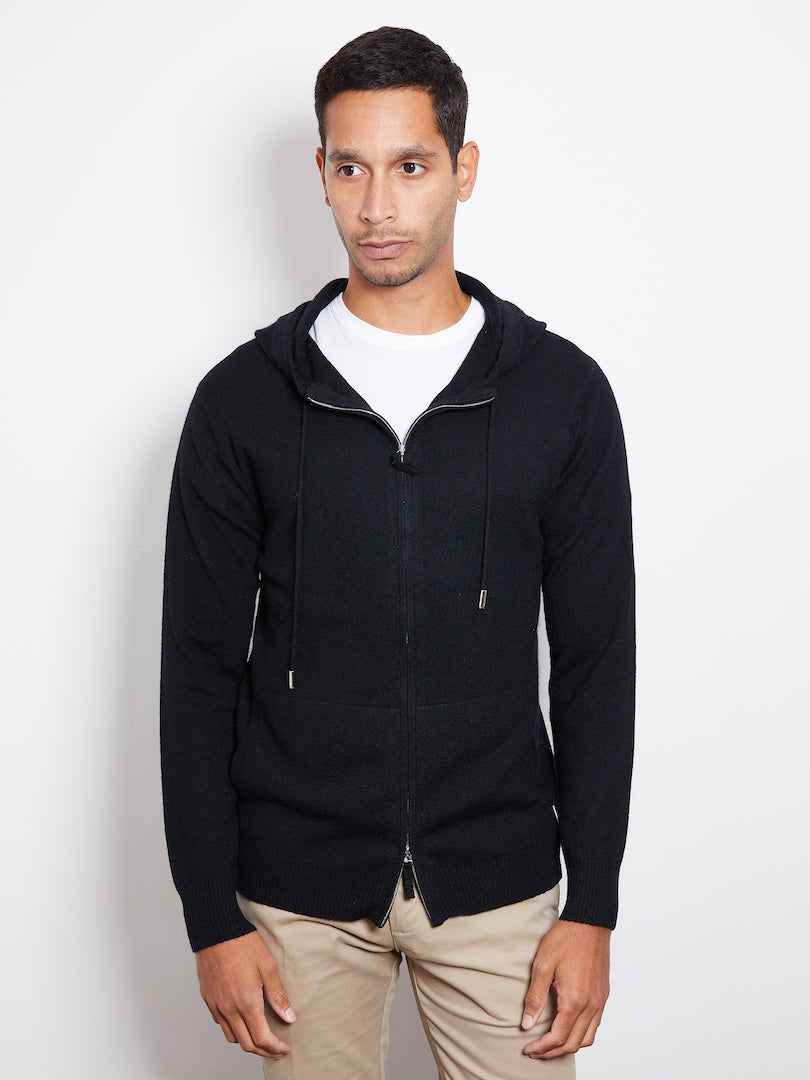 Hank Perfect Cashmere Latham Zip Hoodie, Black