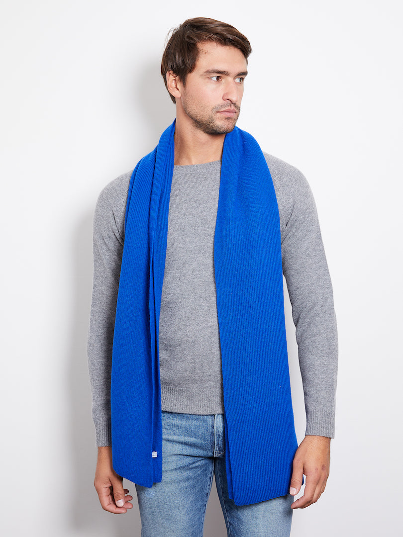 Hank Perfect Cashmere Concord Ribbed Scarf, Royal Blue