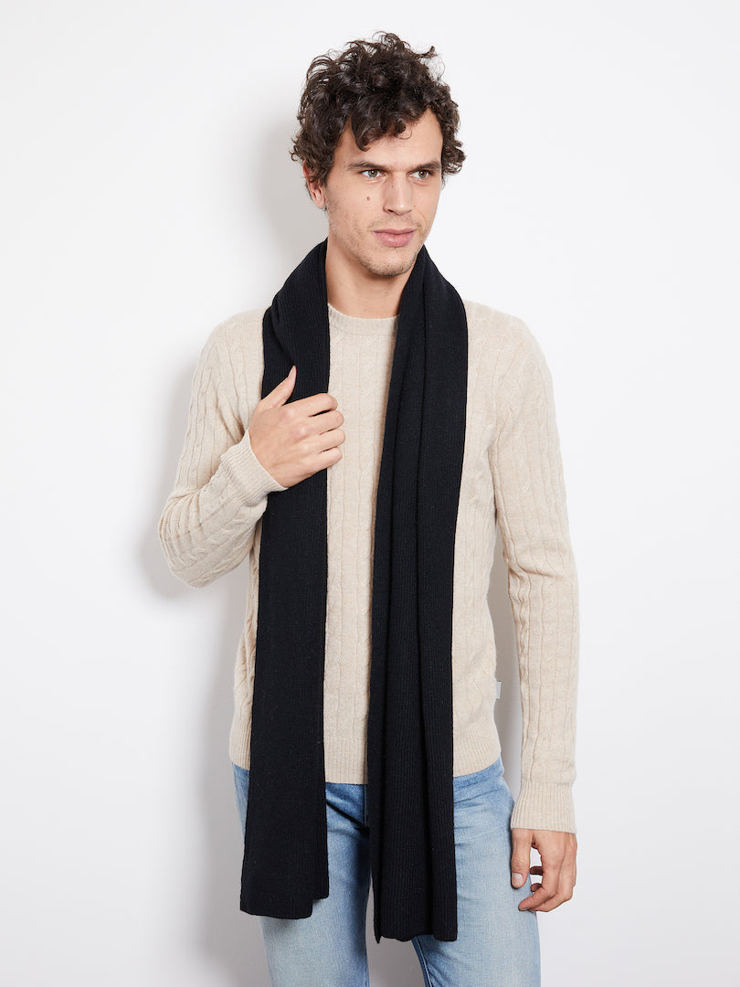 Hank Perfect Cashmere Concord Ribbed Scarf, Black