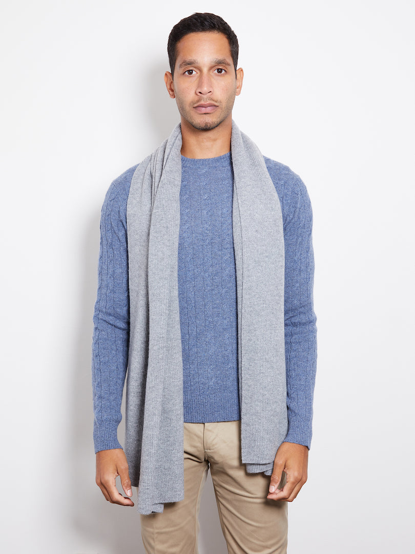 Hank Perfect Cashmere Concord Ribbed Scarf, Heather Grey