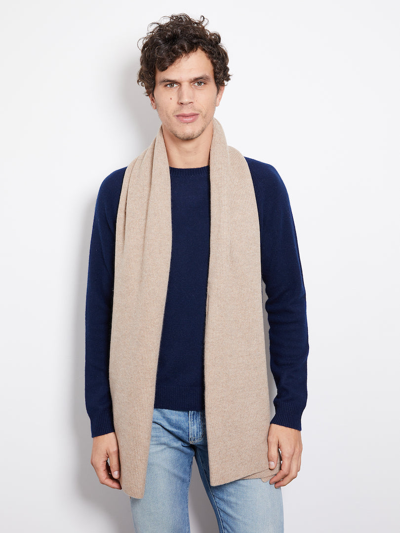 Hank Perfect Cashmere Concord Ribbed Scarf, Camel