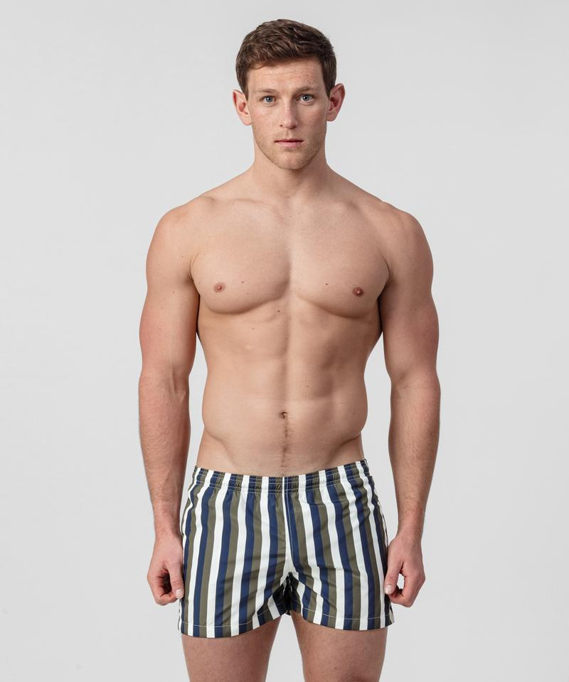 Ron-Dorff-Swim-Shorts-Vertical-Stripes-White/Navy/Green