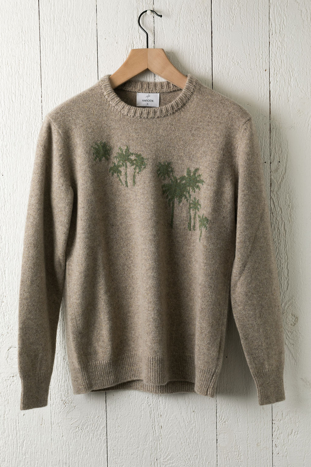 Harden-Palm-Cashmere-Sweater-Oatmeal/Green