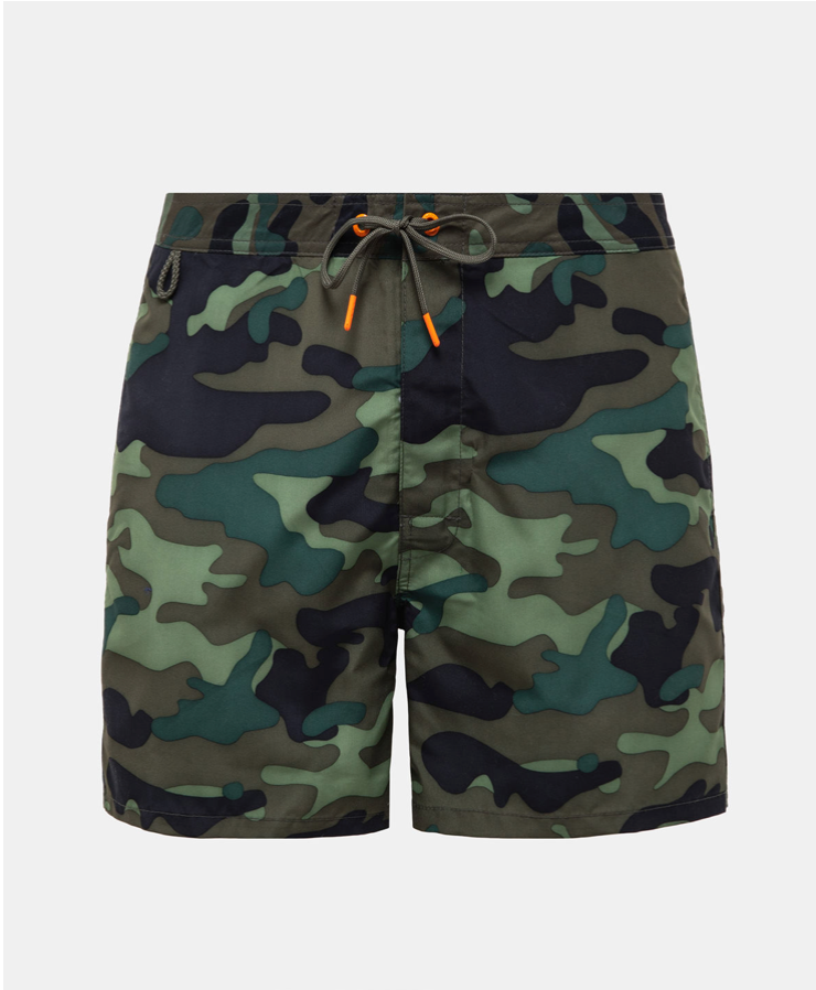 "Sundek Fixed Waist Mid-Length Swim Shorts 16"", Vintage Deep Camo-30"