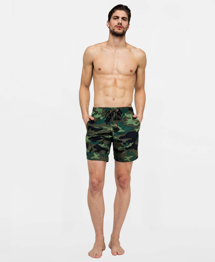 "Sundek Stretch Waist Mid-Length Swim Trunks 16"", Deep Forest"