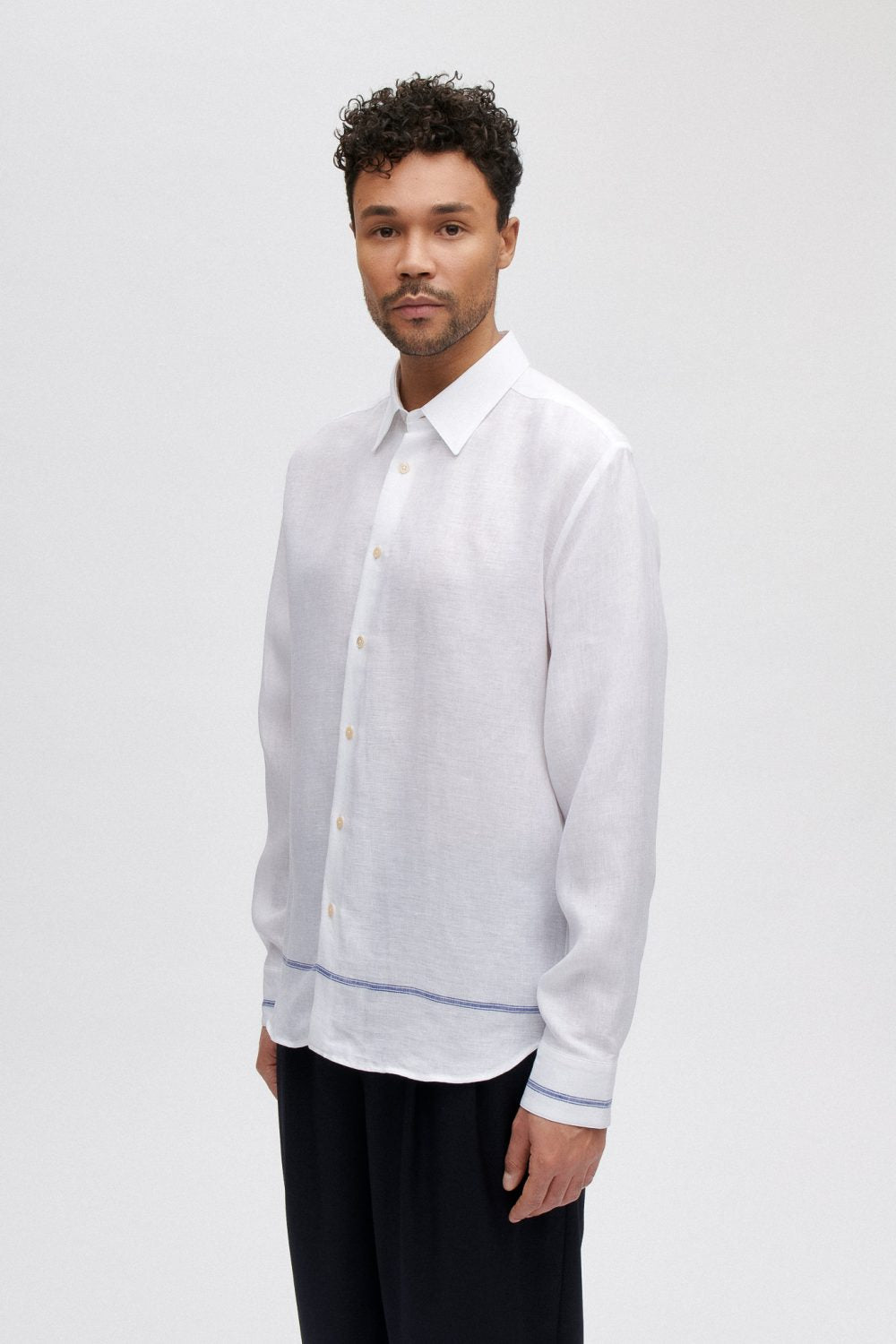 A Kind of Guise Flores Linen Shirt, White Taverna