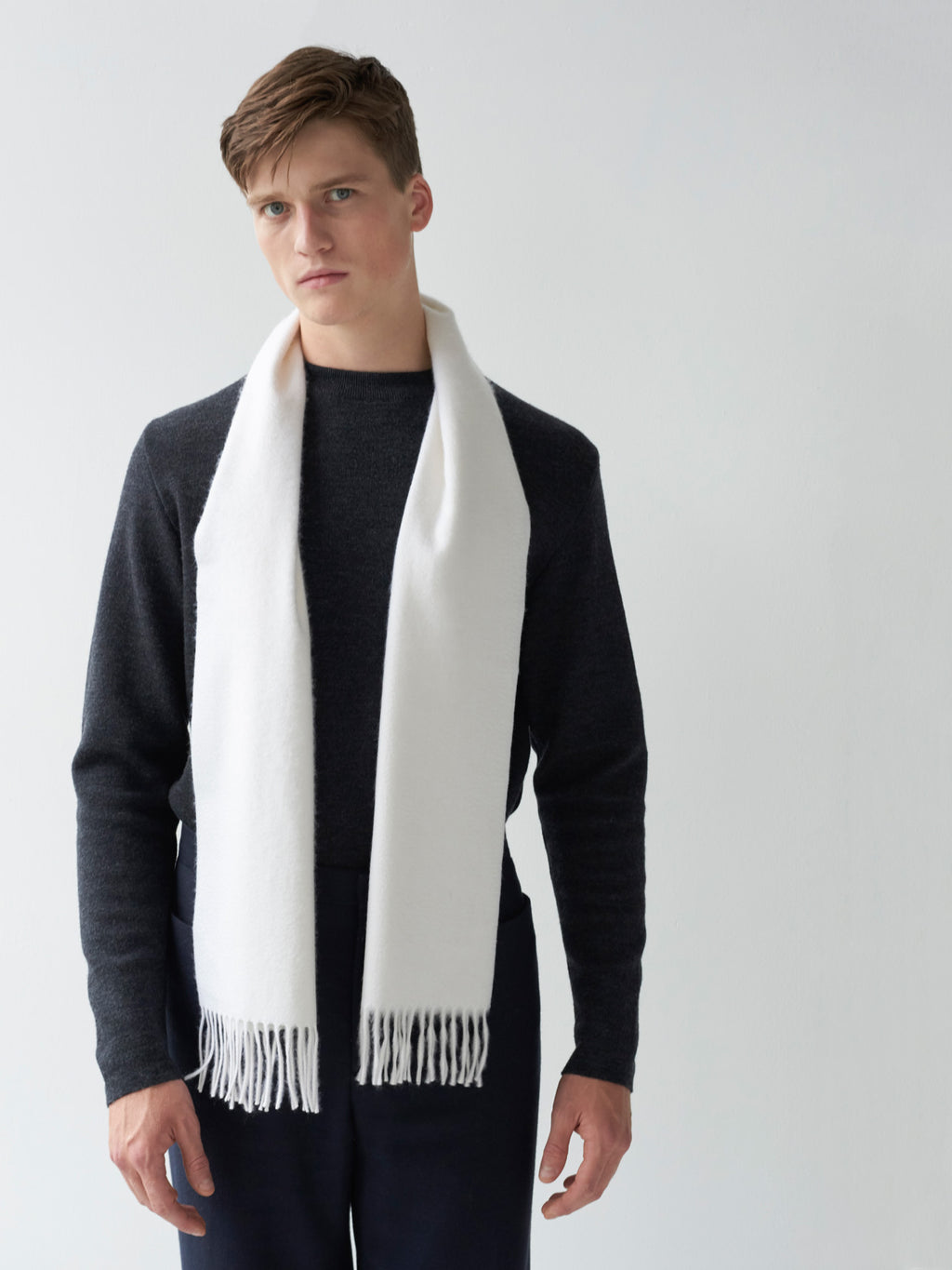 Begg x Co Arran Small White Scarf