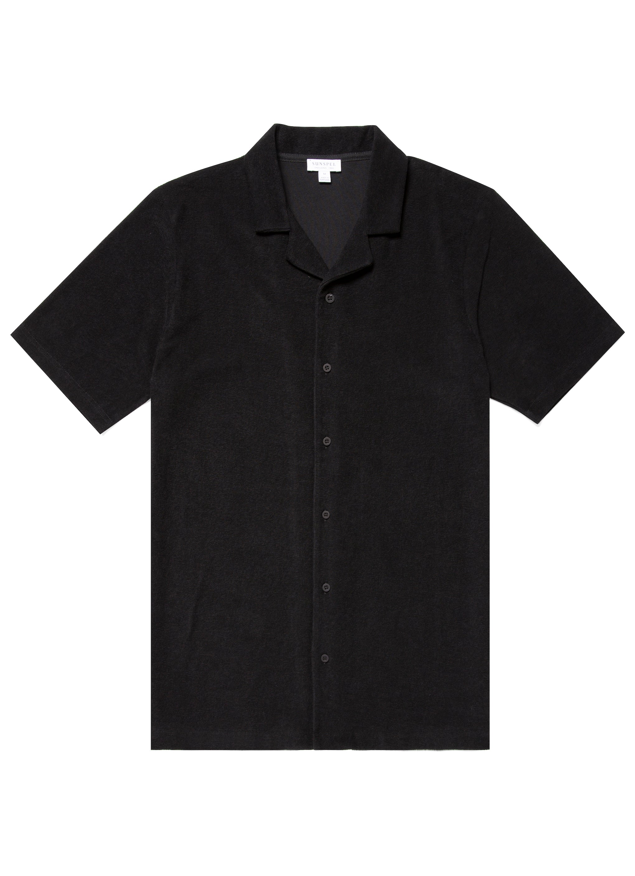 Sunspel-Towelling-Camp-Collar-Shirt-Black