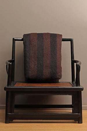 Atelier-Maia-Mohair/Wool-Blanket-Striped-Black/Brown