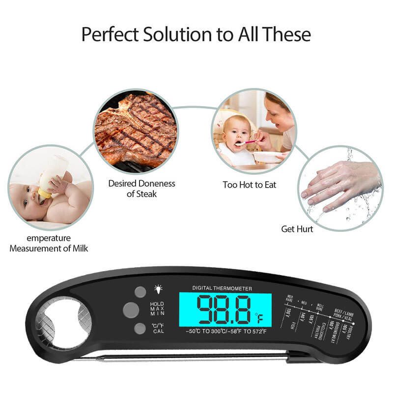 Waterproof Digital Instant Read Meat Thermometer for Kitchen, Food Cooking, Grill, BBQ, Smoker, Candy, Home Brewing, Coffee, and Oil