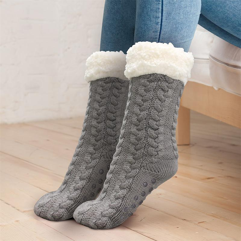 Extra-Warm Knit Fleece-Lined Slipper Socks Winter Cozy Socks Non-Skid Indoor Socks