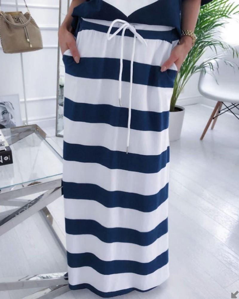 Two Piece Sets -Boat Anchor Print T-Shirt & Striped Skirt Sets