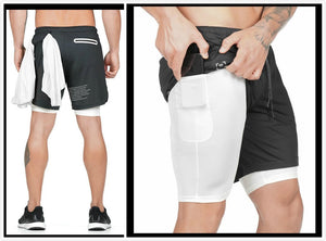 Men's 2 in 1 Shorts Workout Running Training Shorts with Towel Loop|Quick-Dry Secure Pocket Shorts