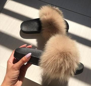 Faux Fur Luxury Slides Slippers|The Fluffy Slides Gorgeous Ladies Furry Slides