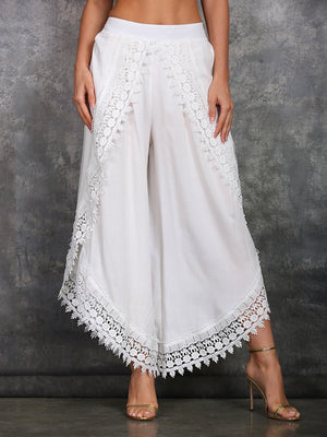 Womens Lace-Trim Tulip Pants