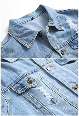 Jean Jacket Men,Denim Jacket For Men,Classic Ripped Slim Denim Jacket with Holes