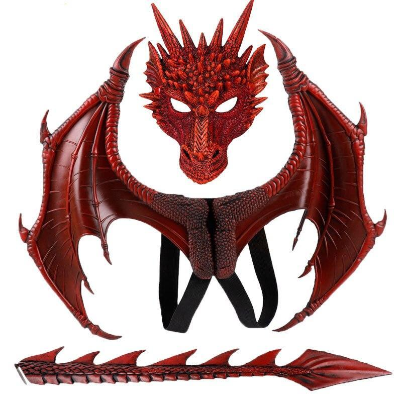 Kids Fantasy Halloween Dragon Costume for Cosplay Make Up Party|Child Animal Mask Wing Tail Accessory