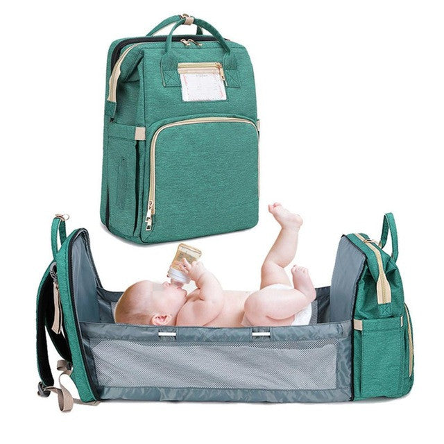 Baby Portable Bed Diaper Bag Backpack Expandable Baby Portable Bed with Changing Station