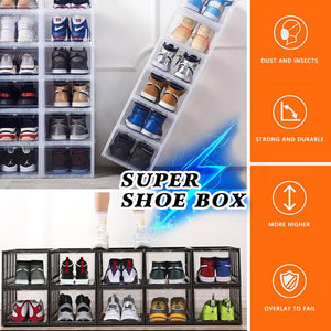 Push Drawer Type Stackable Shoe Box Case|120° Amplitude Transparent under bed shoe box storage|Plastic Shoe containers
