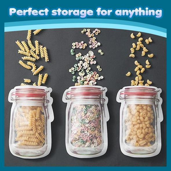 Mason Jar Shaped Zipper Sealed Bags Reusable Snack Saver Storage Bags
