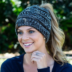 Soft Kint Ponytail Beanie|Stretch Cable Knit Messy High Bun Winter Hat