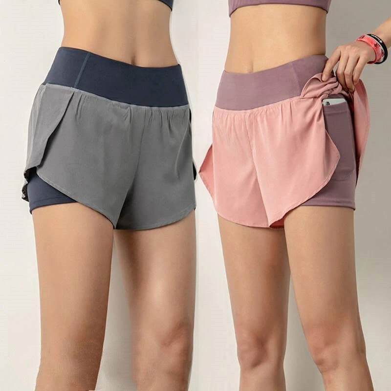 Women Workout Yoga Shorts |2 in 1 Active Jogger Gym Shorts with Pocket|Quick-drying Breathable Runing shorts