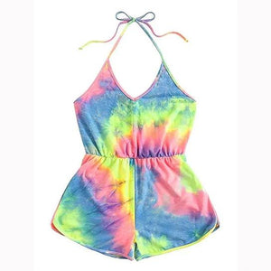 One Piece Tie-dye Rompers for Women |Sexy Halter Sleeveless Short playsuit Beachwear Rompers