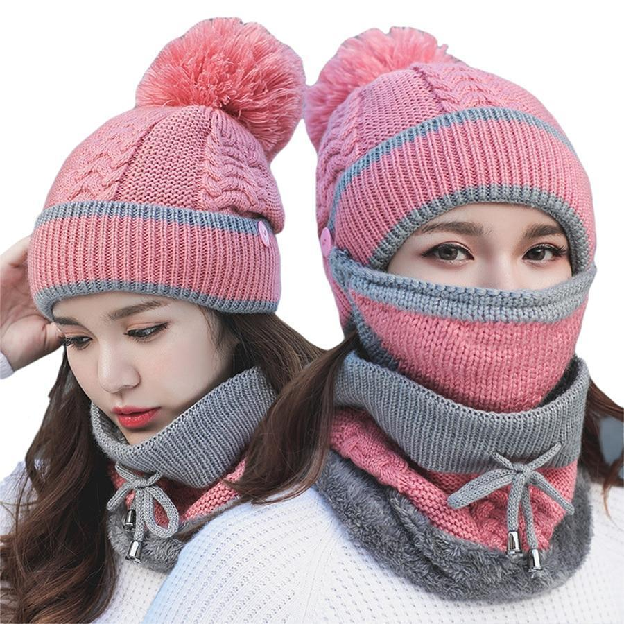 3PCS Womens Winter Scarf Set