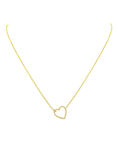 Reversible Pave & Gold Heart Necklace