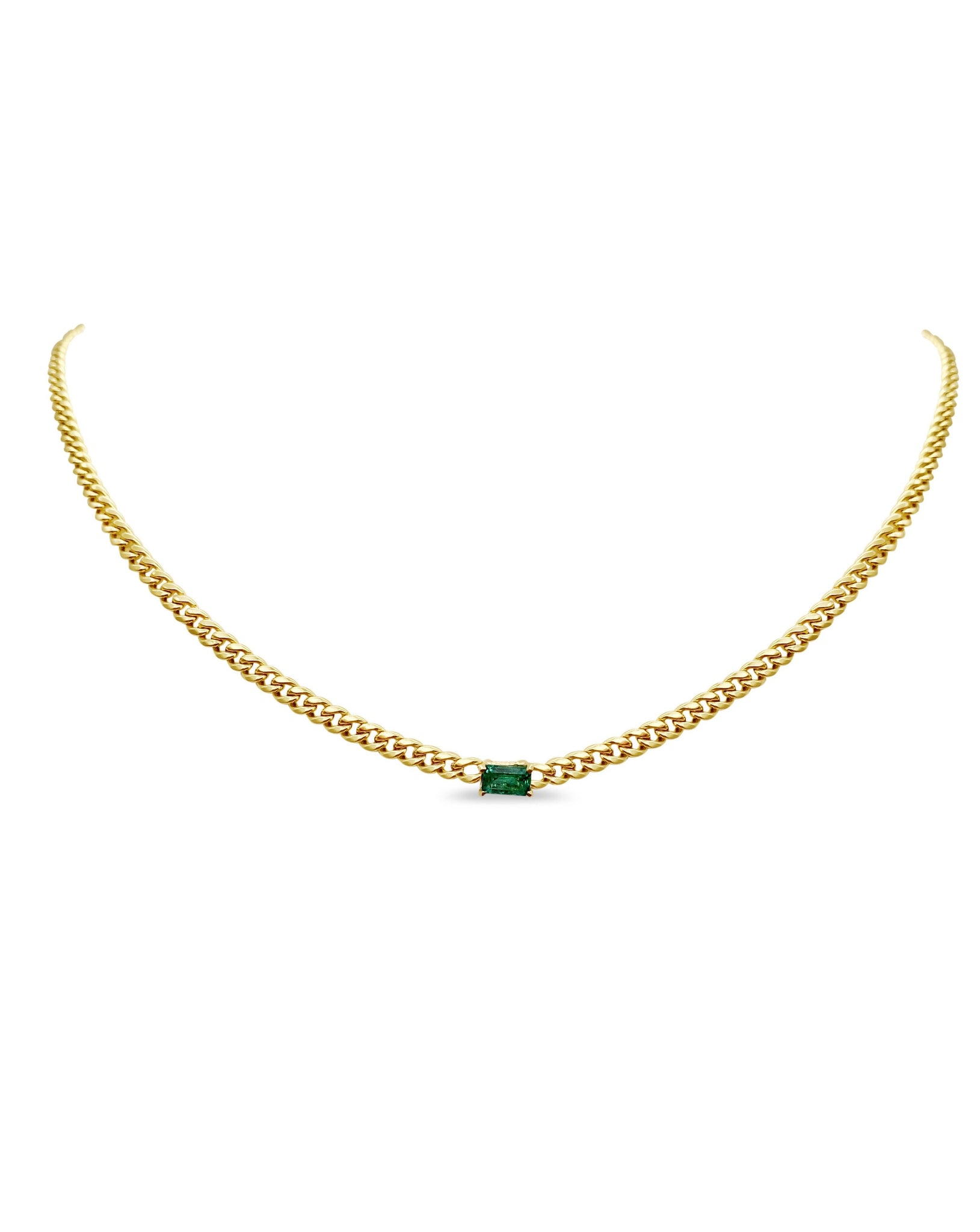 Curb Link Emerald Necklace