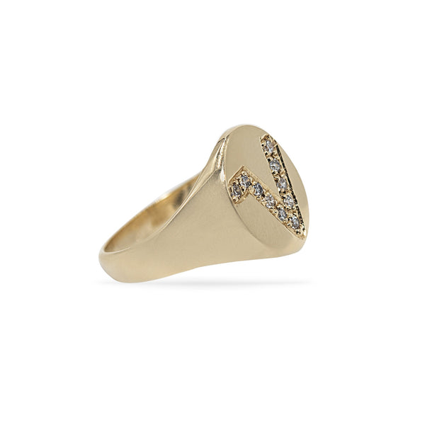 Oval Signet Pinky Ring with Pave Diamond Initial
