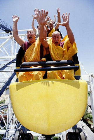 monks on rollercoaster