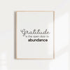 Gratitude is the open door to abundance quote wall art, Inspirational quote on abundance for your home or office