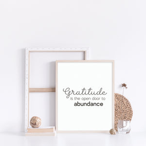 Gratitude is the open door to abundance quote wall art, Inspirational art poster