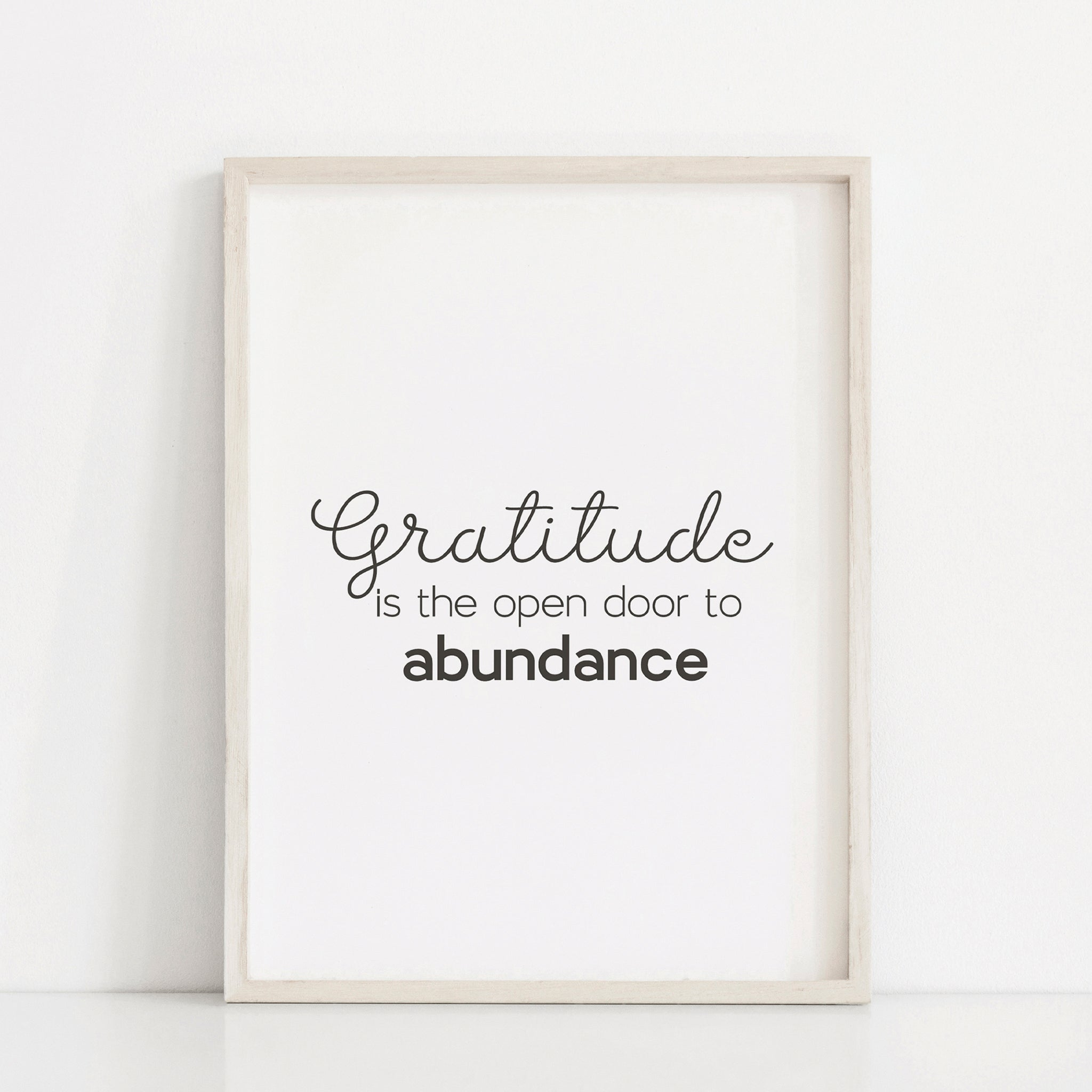 Gratitude is the open door to abundance quote wall art, Motivational quote poster