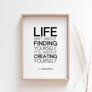 Life isn't about finding yourself. It's about creating yourself.  Motivational Quote Poster