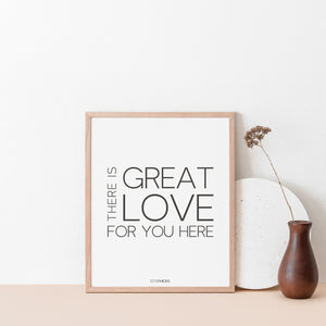There is great love for you here quote by Esther Hicks, Motivational wall art