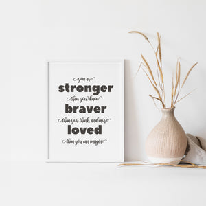 You are stonger than you, braver than you think, and more loved than you could imagine, quote wall art poster