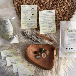 Manifest Abundance Ritual kit with sage and crystals