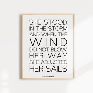 she stood in the wind inspirational quote wall poster