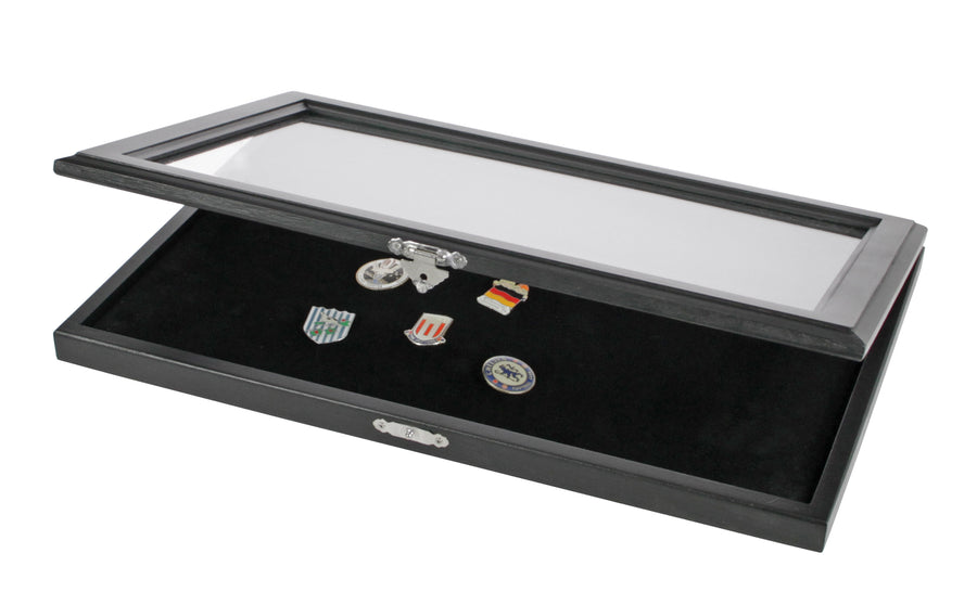Pin Display Case - Matte Black Glass Top