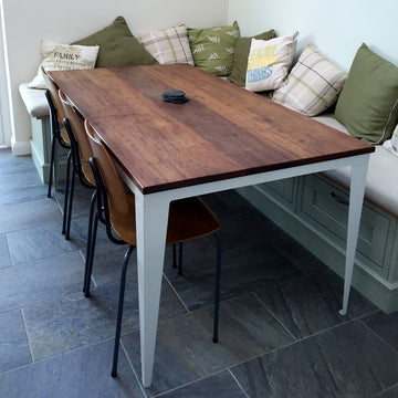 Bespoke 'Foundry' steel & Iroko dining table