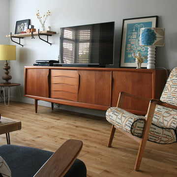 Gunni Omann sideboard, E-Gomme 'siesta' armchair, Gimson & Slater armchair, coffee tables, shelf and homewares