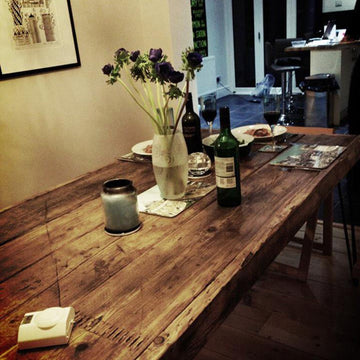 Reclaimed timber dining table with hairpin legs