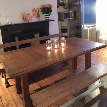 Fully Restored Antique Solid Oak Heals Table