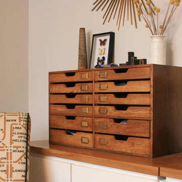 Vintage oak filing drawers & accessories
