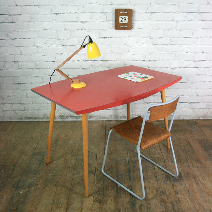 vintage 1950s red formica vintage table or desk mustard vintage. Black Bedroom Furniture Sets. Home Design Ideas