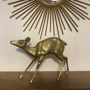 Large Mid Century Brass Deer Fawn